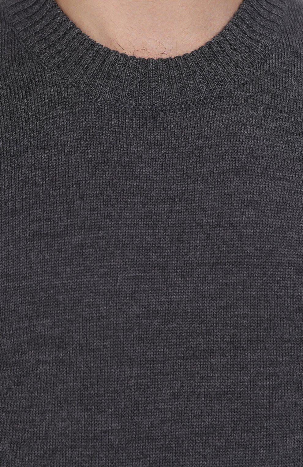 Шерстяной однотонный джемпер Dolce & Gabbana серый | Фото №5