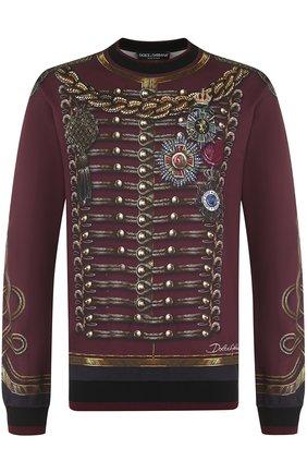 Хлопковый свитшот с принтом Dolce & Gabbana бордовый | Фото №1