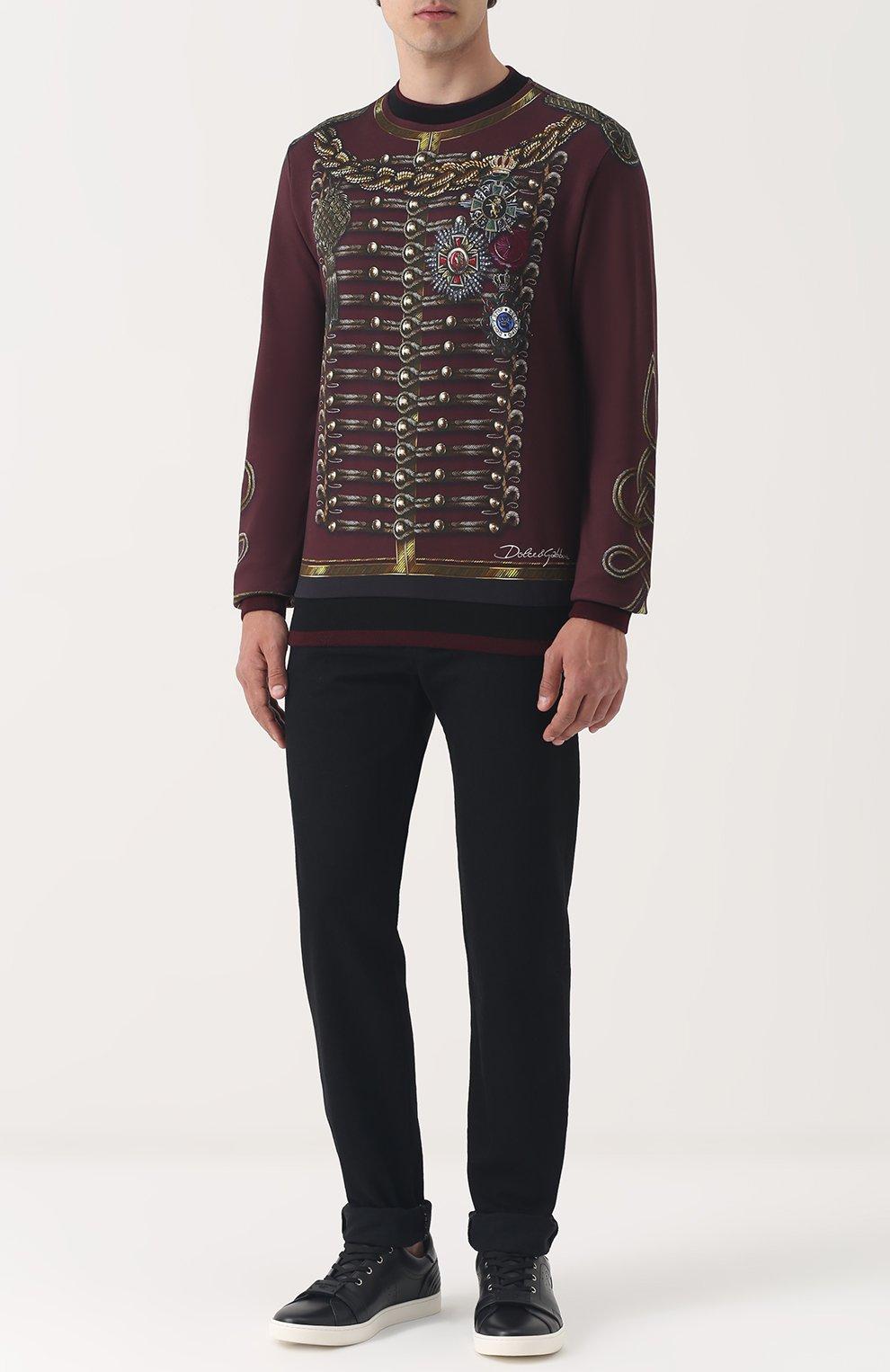 Хлопковый свитшот с принтом Dolce & Gabbana бордовый | Фото №2