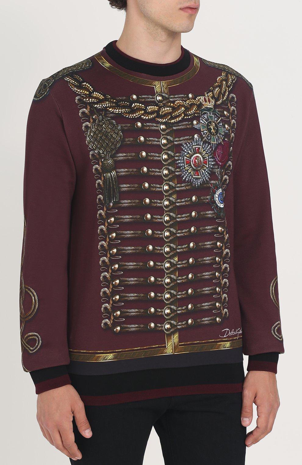 Хлопковый свитшот с принтом Dolce & Gabbana бордовый | Фото №3