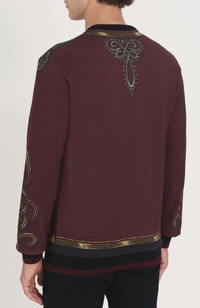 Хлопковый свитшот с принтом Dolce & Gabbana бордовый | Фото №4