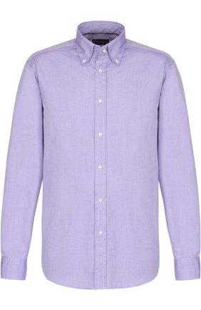 Мужская хлопковая сорочка с воротником button down RALPH LAUREN фиолетового цвета, арт. 790553098 | Фото 1