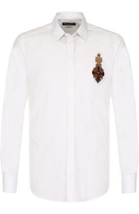 Приталенная хлопковая сорочка с декоративной отделкой Dolce & Gabbana белая   Фото №1