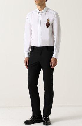 Приталенная хлопковая сорочка с декоративной отделкой Dolce & Gabbana белая   Фото №2