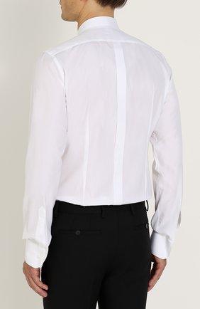 Приталенная хлопковая сорочка с декоративной отделкой Dolce & Gabbana белая   Фото №4