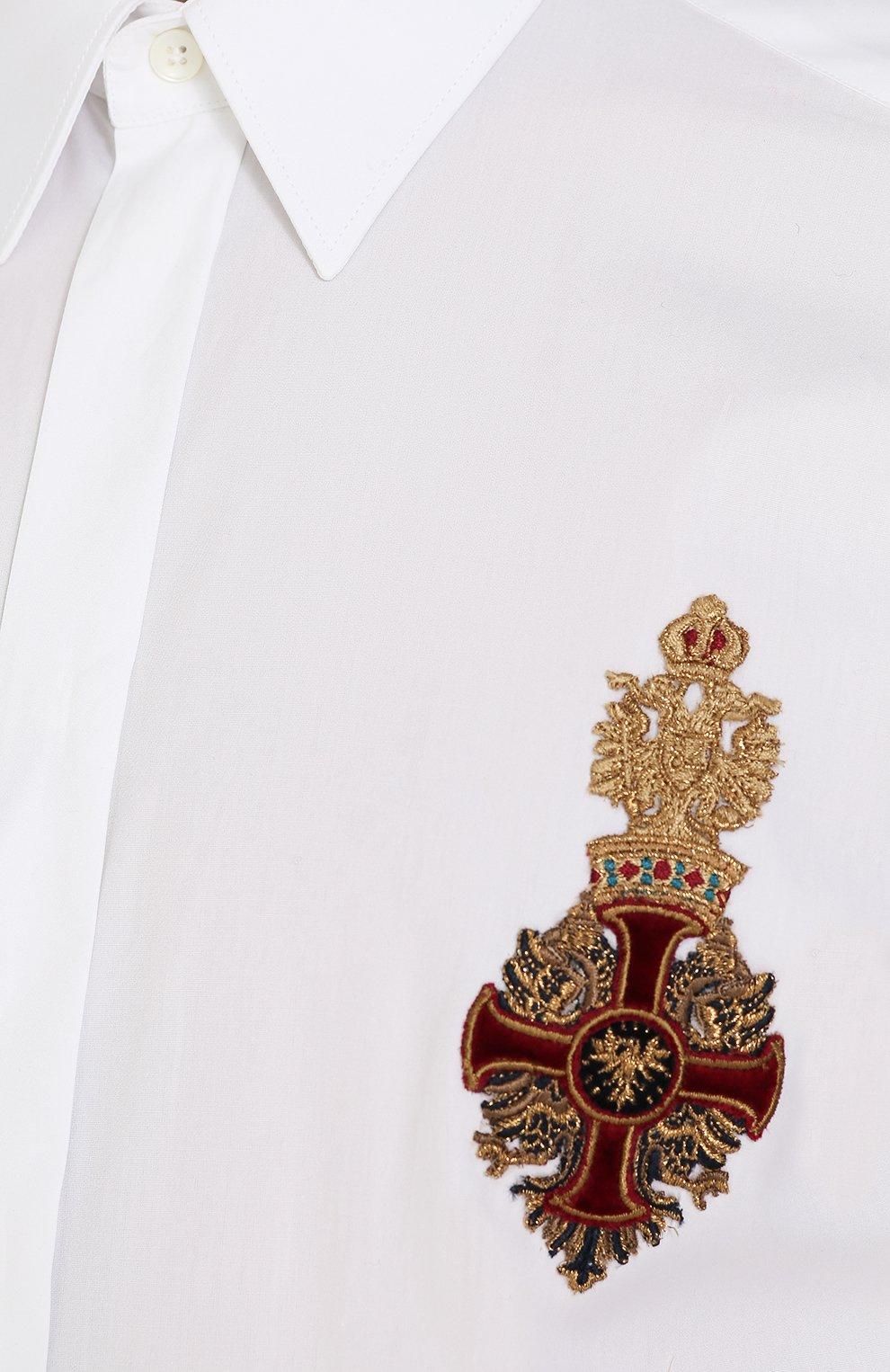 Приталенная хлопковая сорочка с декоративной отделкой Dolce & Gabbana белая   Фото №5