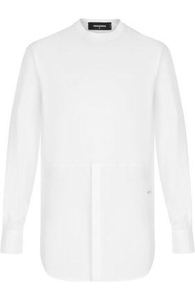 Хлопковая рубашка свободного кроя с воротником-стойкой