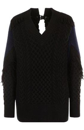 Шерстяной пуловер с V-образным вырезом Sacai черный | Фото №1
