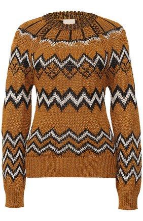 Вязаный пуловер с круглым вырезом | Фото №1