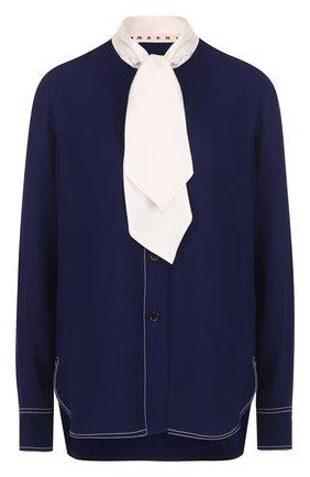 Блуза с контрастным воротником аскот | Фото №1