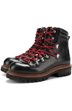 Кожаные ботинки на контрастной шнуровке