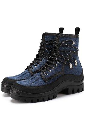 Ботинки из денима с кожаной отделкой на шнуровке