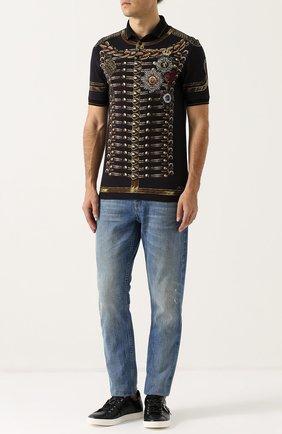 Хлопковое поло с принтом Dolce & Gabbana темно-синее | Фото №2