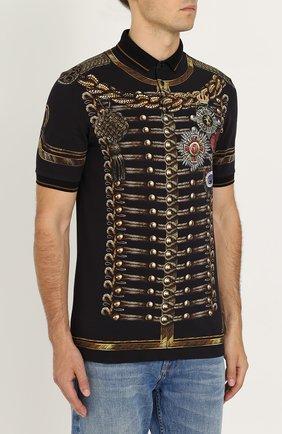 Хлопковое поло с принтом Dolce & Gabbana темно-синее | Фото №3
