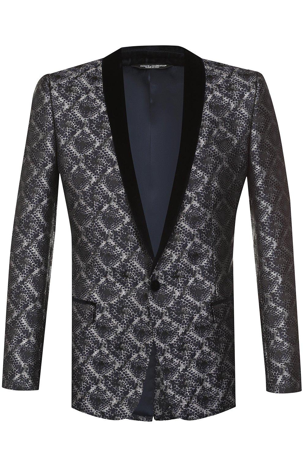 Однобортный пиджак с фактурной отделкой | Фото №1