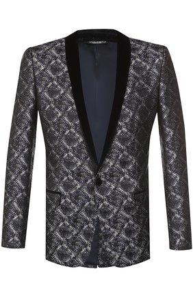 Однобортный пиджак с фактурной отделкой Dolce & Gabbana серый | Фото №1