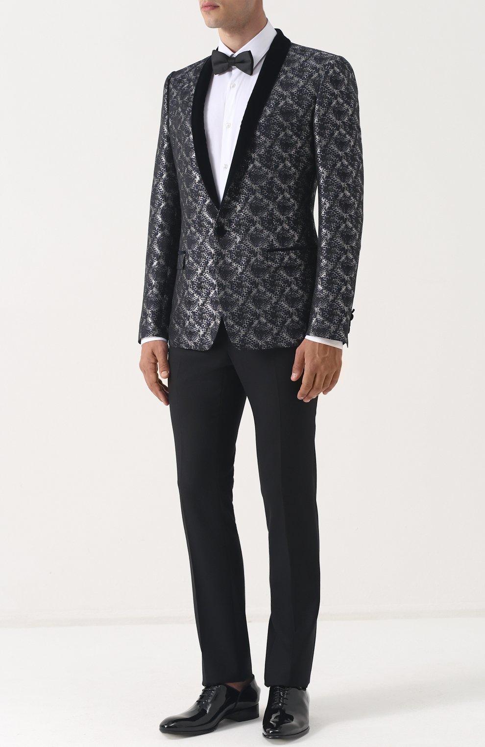 Однобортный пиджак с фактурной отделкой Dolce & Gabbana серый | Фото №2