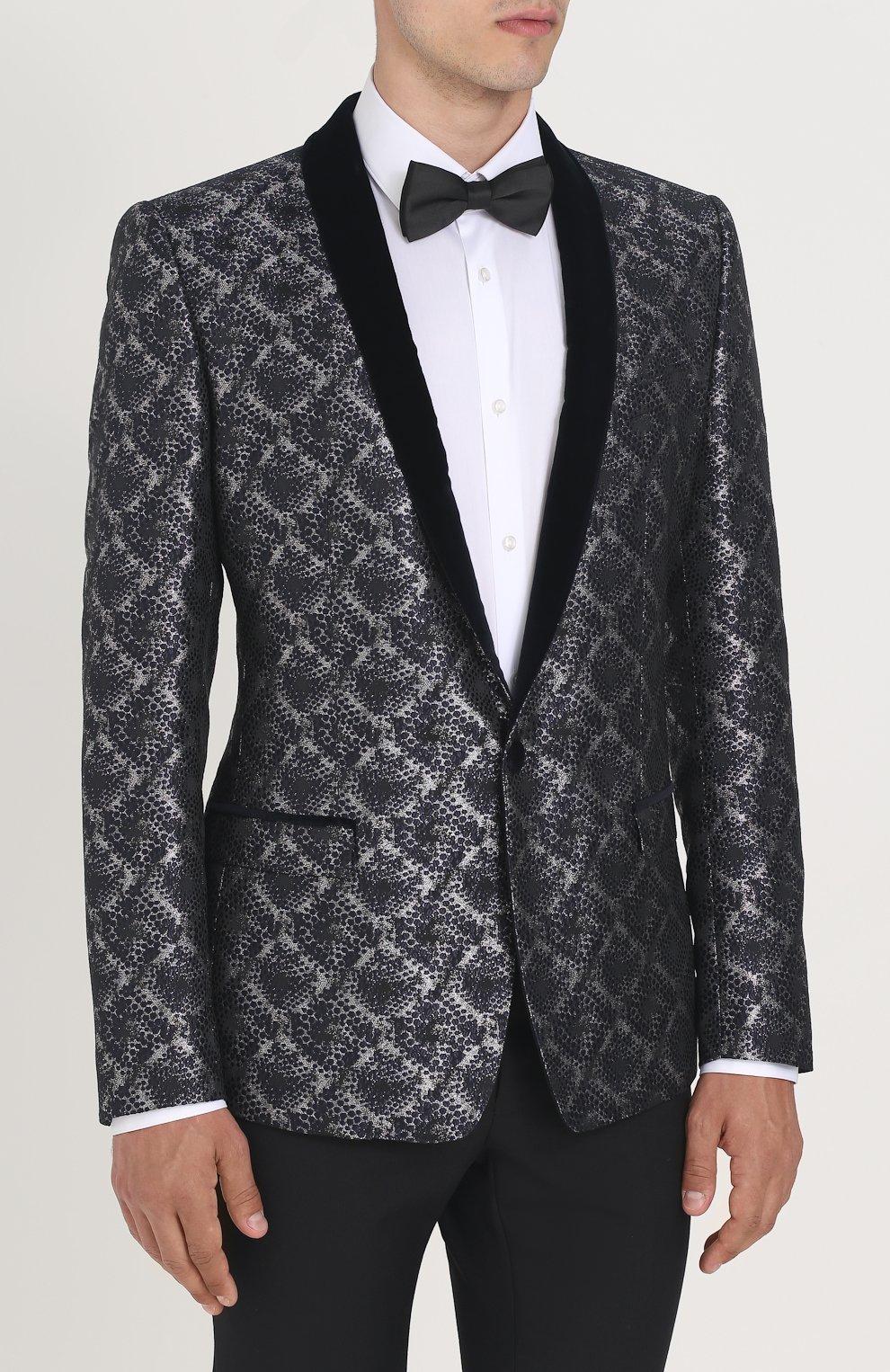 Однобортный пиджак с фактурной отделкой Dolce & Gabbana серый | Фото №3