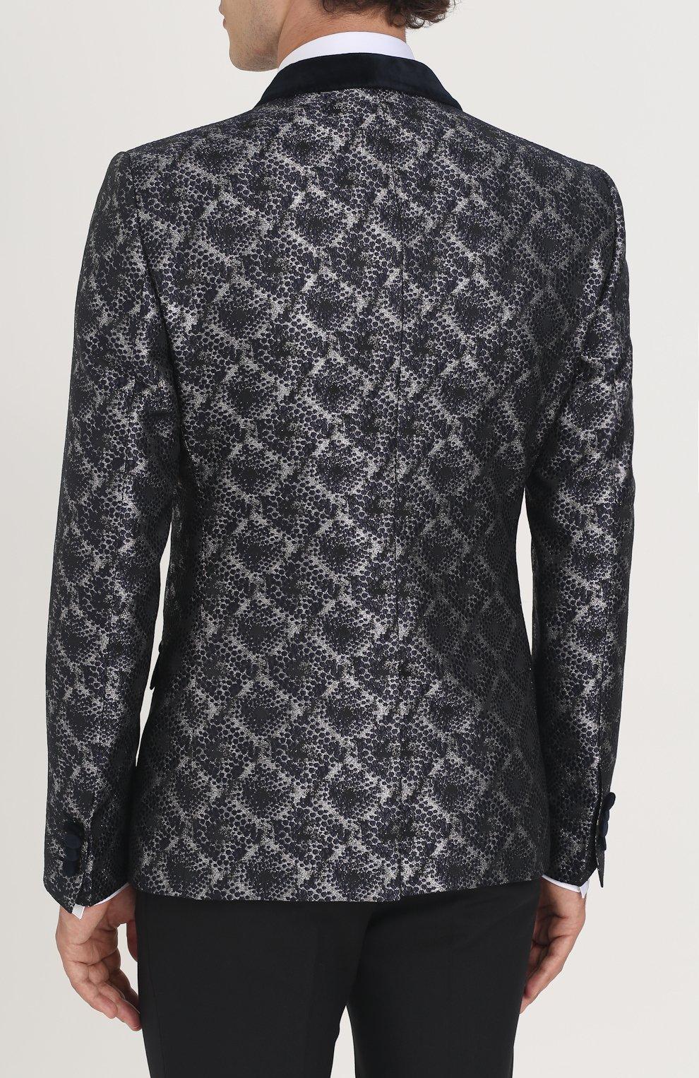 Однобортный пиджак с фактурной отделкой Dolce & Gabbana серый | Фото №4