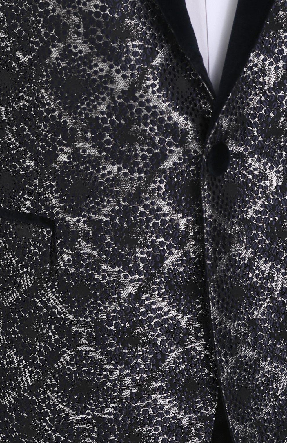 Однобортный пиджак с фактурной отделкой Dolce & Gabbana серый | Фото №5