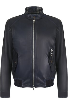 Кожаная куртка на молнии Delan темно-синяя | Фото №1