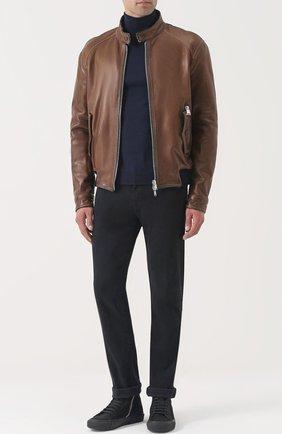 Кожаная куртка на молнии Delan светло-коричневая | Фото №1