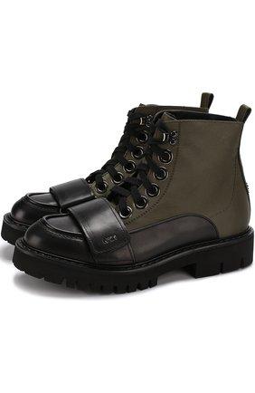 Комбинированные ботинки с декоративным ремешком
