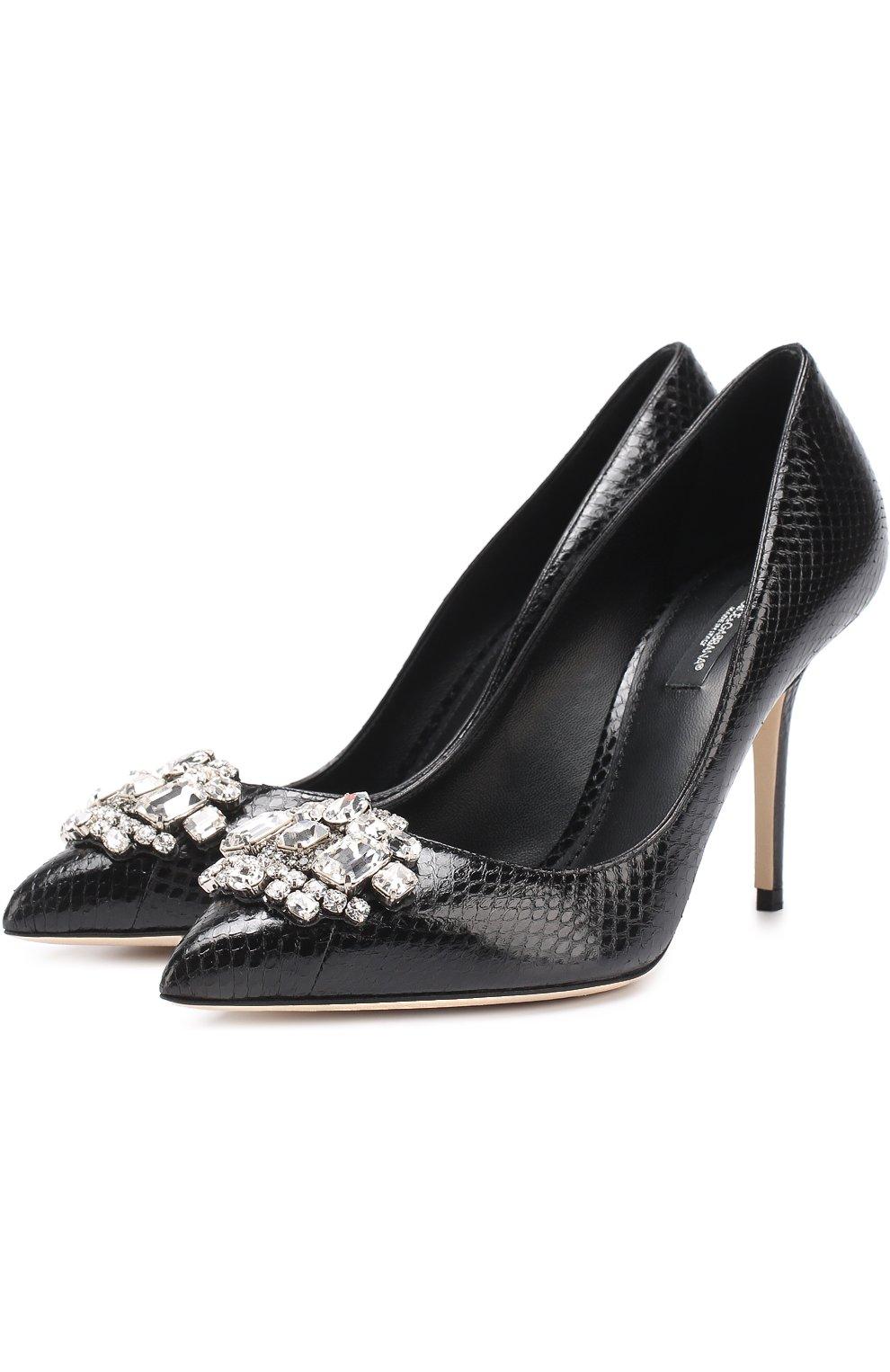 Кожаные туфли Bellucci с тиснением и брошью   Фото №1