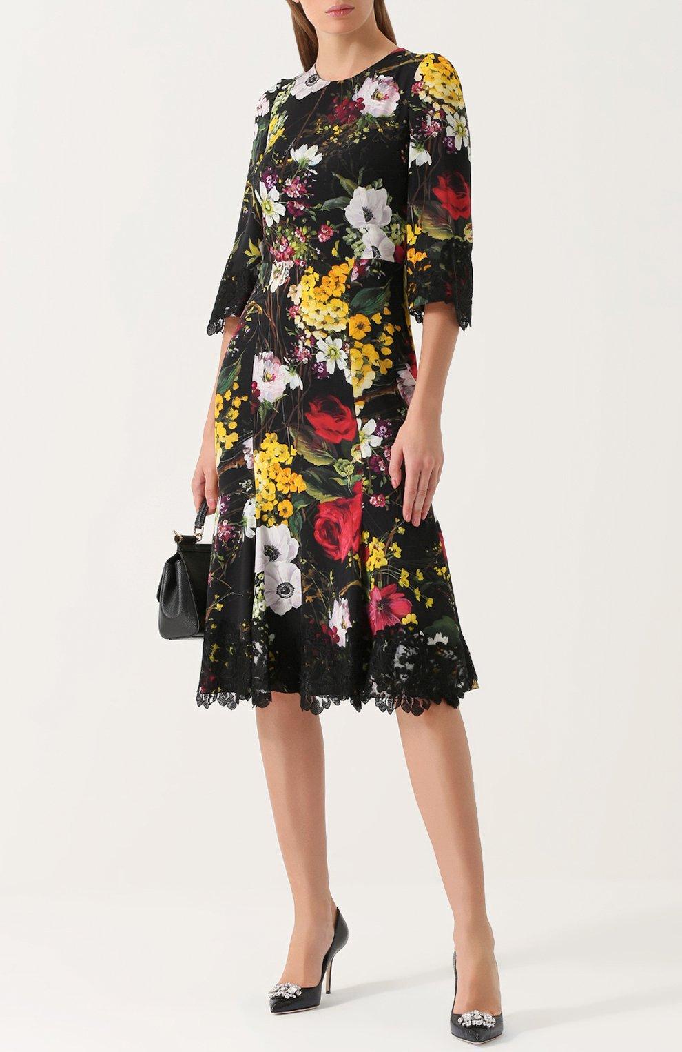 Кожаные туфли Bellucci с тиснением и брошью Dolce & Gabbana черные   Фото №2