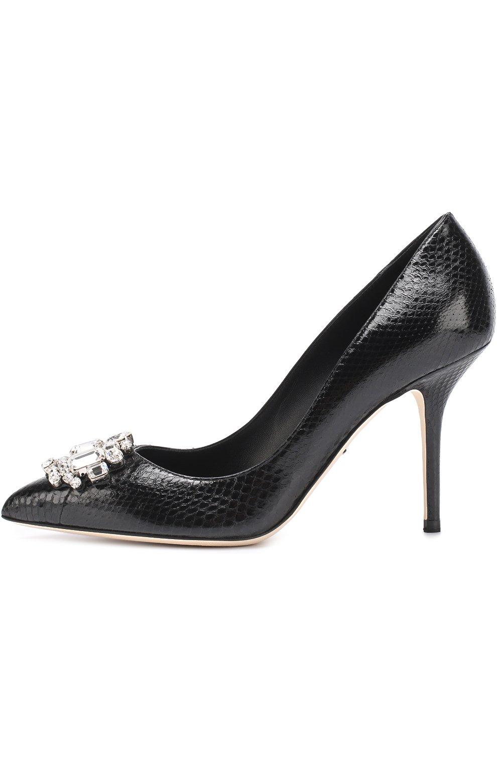 Кожаные туфли Bellucci с тиснением и брошью Dolce & Gabbana черные   Фото №3
