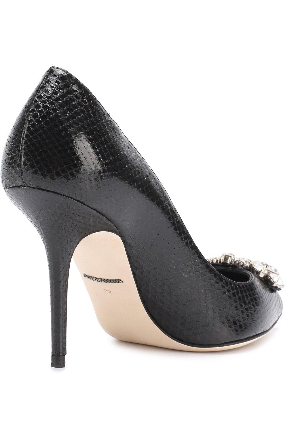 Кожаные туфли Bellucci с тиснением и брошью Dolce & Gabbana черные   Фото №4