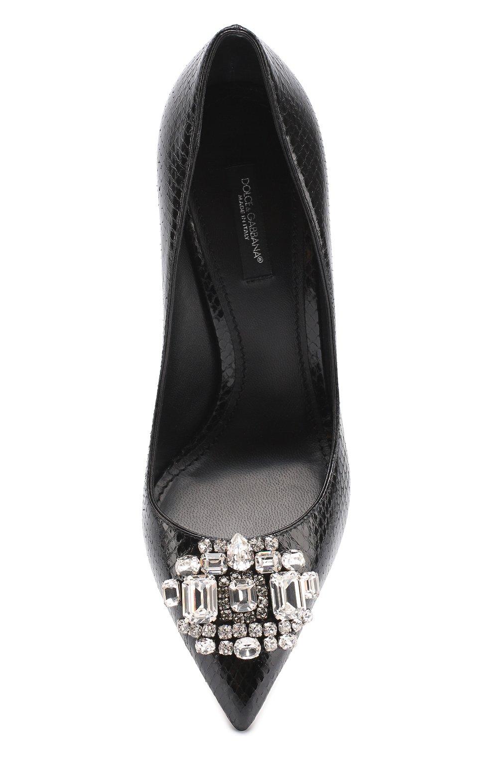 Кожаные туфли Bellucci с тиснением и брошью Dolce & Gabbana черные   Фото №5