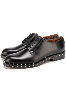 Кожаные дерби Valentino Garavani Soul Rockstud на шнуровке Valentino черные | Фото №1
