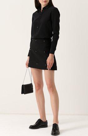 Кожаные дерби Valentino Garavani Soul Rockstud на шнуровке Valentino черные | Фото №2