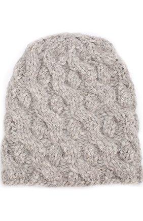Шерстяная шапка фактурной вязки Karakoram accessories светло-серого цвета   Фото №1