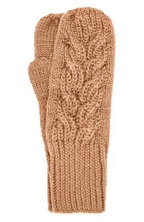 Шерстяные варежки фактурной вязки Karakoram accessories хаки   Фото №1