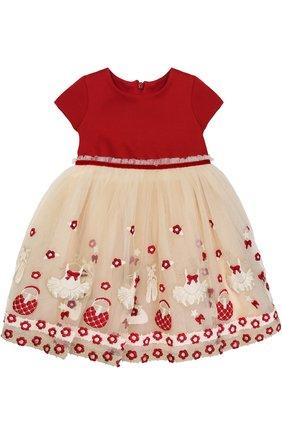 Многослойное платье с завышенной талией и вышивкой | Фото №1