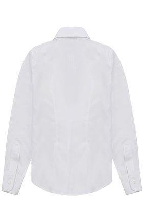 Детская хлопковая рубашка в мелкую полоску Dal Lago белого цвета | Фото №1