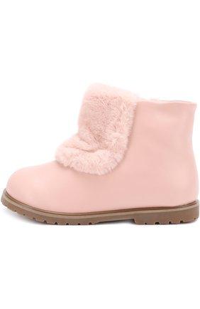 Детские кожаные ботинки с отделкой из эко-меха Age of Innocence розового цвета   Фото №1