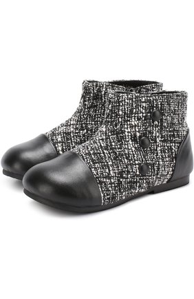 Кожаные ботинки с текстильной отделкой   Фото №1