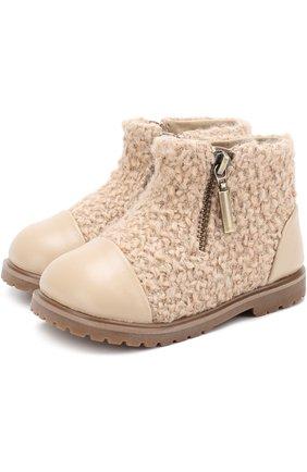 Детские кожаные ботинки с текстильной отделкой Age of Innocence бежевого цвета   Фото №1