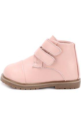 Детские кожаные ботинки с застежками велькро Age of Innocence розового цвета   Фото №1