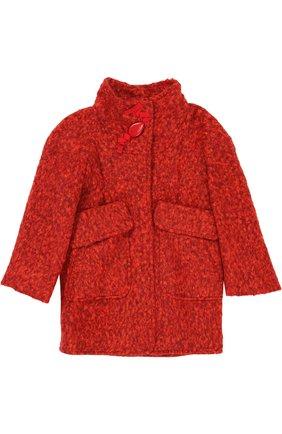 Пальто прямого кроя с воротником стойкой и объемными карманами | Фото №1