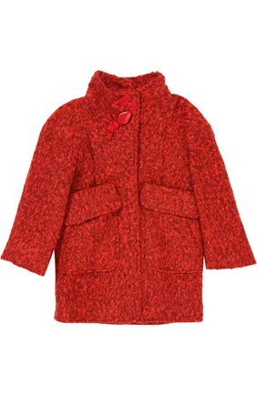 Пальто прямого кроя с воротником стойкой и объемными карманами I Pinco Pallino красного цвета | Фото №1