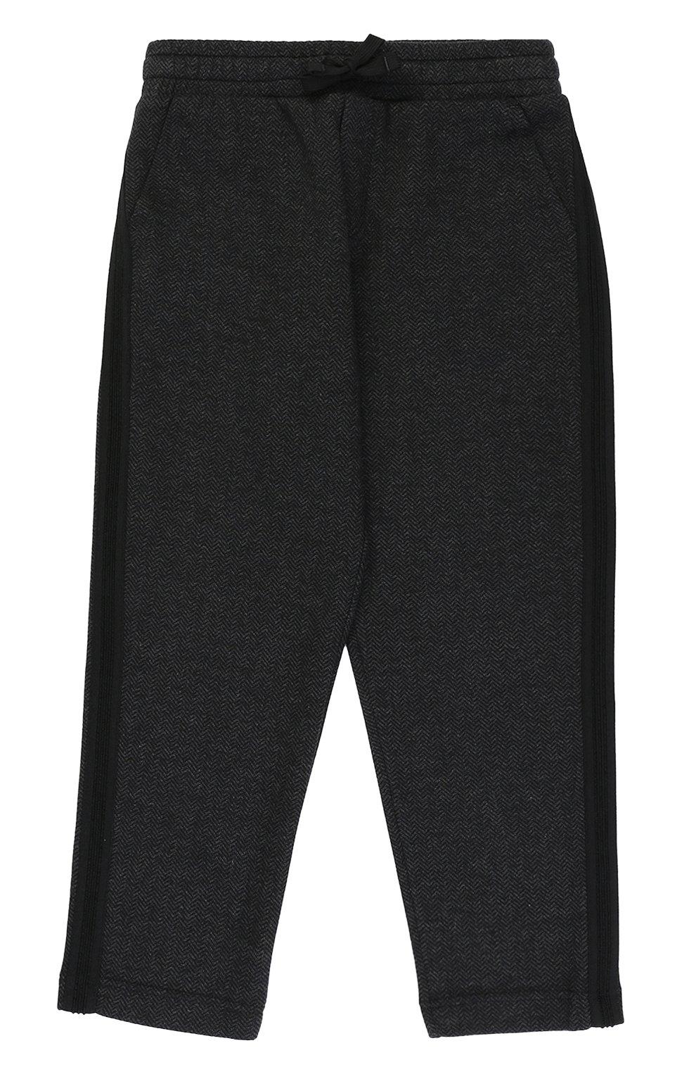 Хлопковые брюки прямого кроя с лампасами на кулиске   Фото №1