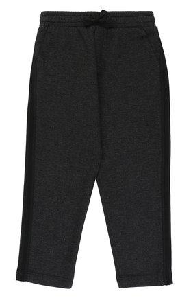 Детские хлопковые брюки прямого кроя с лампасами на кулиске Dolce & Gabbana темно-серого цвета   Фото №1