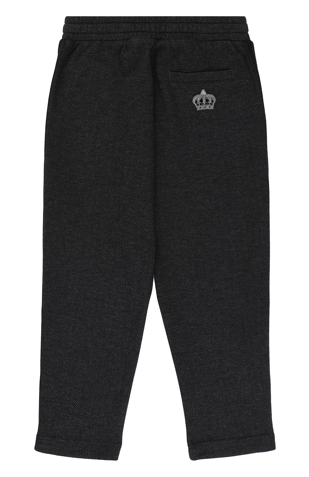 Детские хлопковые брюки прямого кроя с лампасами на кулиске Dolce & Gabbana темно-серого цвета   Фото №2