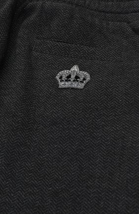 Детские хлопковые брюки прямого кроя с лампасами на кулиске Dolce & Gabbana темно-серого цвета   Фото №3