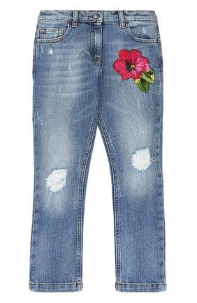 Детские джинсы с декоративными потертостями и вышивкой Dolce & Gabbana синего цвета | Фото №1