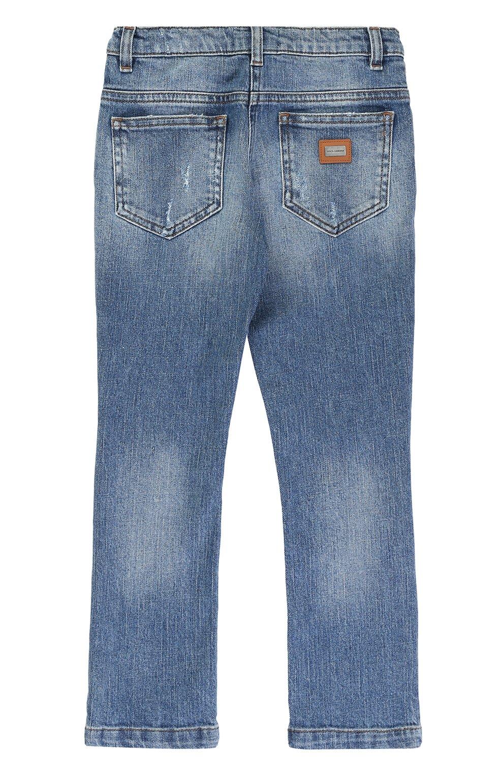 Детские джинсы с декоративными потертостями и вышивкой Dolce & Gabbana синего цвета | Фото №2